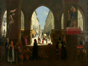 """Angelo Inganni, """"Veduta della Contrada Nuova in Monza"""", 1850"""
