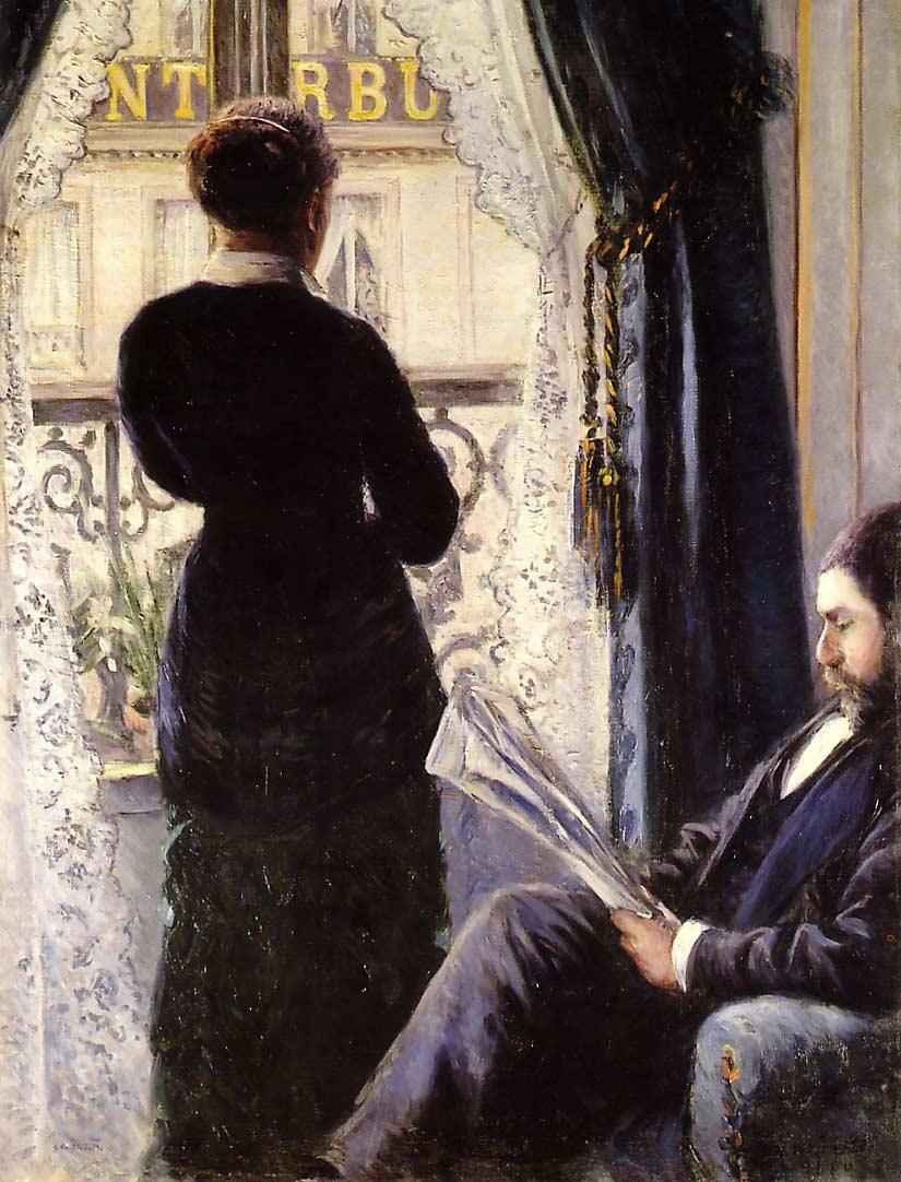 caillebotte interior (donna che guarda dalla finestra)